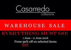 Casarredo Warehouse Sale! Everything must go! Now 60% off selected items. www.casarredo.co.za #Casarredo #casarredosa #sale #60%off #kramerville #decor #furniture