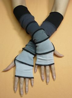 DIY inspiration. Long Fingerless Gloves in Black and Grey Shades, Segmented Traveler Armwarmers with Thumb Holes, Comfortable Jersey Sleeves, Pale, Dark Grey