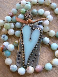 Country chic heart necklace  She Loves  Bohemian by 3DivasStudio