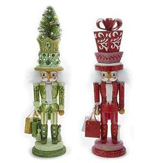 Kurt Adler Hollywood 1 Set 2 Assorted Green And Red Tree And Present Christmas Nutcrackers ** Continue to the product at the image link. Present Christmas, Old World Christmas Ornaments, Pink Christmas, Christmas Decorations, Christmas Tree, Xmas, Nutcracker Figures, Nutcracker Ornaments, Nutcracker Christmas