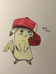 A little pikachu for my friend Elena P. (Such foxy potatoes amirite Elena) so yea, there may or may not be more of these if my friends give me more things to draw (I got some raging art block rn... And write block too..)
