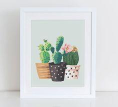 Cactus impresión, impresión del arte del jardín de plantas de Cactus, Home Sweet Home Imprimibles, Instant Download, decoración casera, jardín hogar lámina imprimible