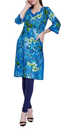 Indian Casual Dresses For Women Cotton Printed Long Kurta WCLK441925Size44 InchBlue ** Click image for more details.