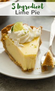 This 5 ingredient lime pie features the perfect balance between sweet and tart with a cool, creamy texture. With only 15 minutes in the oven, this is one of the easiest pies to have in your repertoire.--recipe on bakedbyanintrovert.com #lime #pie #baking #dessert via @introvertbaker