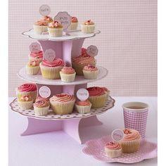 Decoración de fiestas. Base para Cupcakes I Love Pink. Kit para Cupcakes I Love Pink. Platos y vasos I Love Pink.