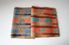 Two Embroidered Burlap Textile. $32.00, via Etsy.
