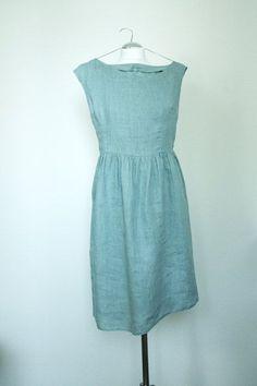 190d8cca88c Items similar to Linen dress - Summer bluish ruffled romantic on Etsy