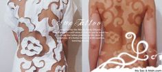 Body Care: Spray Tan Back Tattoo - could do this with homemade self tanner with a stencil or use lace or a doily with tanner in a spray bottle for a small henna-type tattoo
