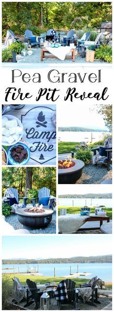 Pea Gravel Fire Pit Patio Reveal | The Happy Housie #firepit #falldecor #curbappeal #outdoors #backyardideas #lakehouse