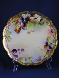 "Haviland Limoges Pickard Studios Blackberry Design Plate (Signed ""M.P."" for Minnie Pickard/c.1905-1910)"