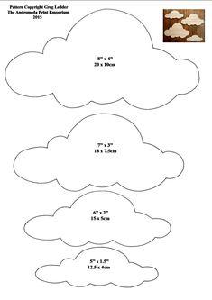 4 Different Sized Cloud Shapes Style 3 Craft Pattern 1 Felt Patterns, Craft Patterns, Baby Sewing, Free Sewing, Decoration Creche, Cloud Template, Felt Crafts, Paper Crafts, Cloud Stencil