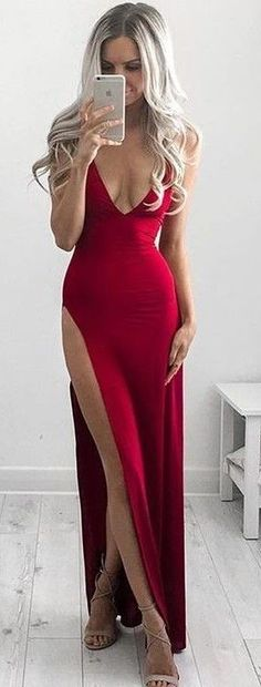 #summer #style |Hot Red Gown For Valentine's Day                                                                             Source