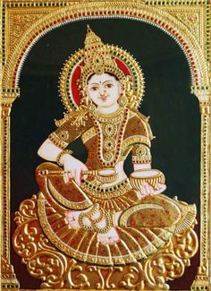 Goddess Annapurna tanjore painting made from gold. Beautiful collection of thanjavur art in different designs at best prices . Mysore Painting, Tanjore Painting, Krishna Painting, Art Forms Of India, Wonder Art, Indian Paintings, Leaf Paintings, Indian Folk Art, Hindu Art
