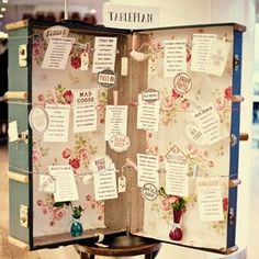 Beautiful vintage suitcase table plan