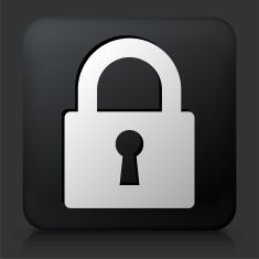 Black Square Button with Security Lock Icon vector art illustration