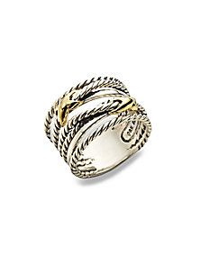 David Yurman - Sterling Silver & 18K Gold Cable Ring :: this has been my DREAM ring for as long as i can remember...