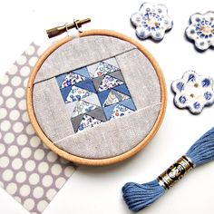 Mini embroidery hoop with flying geese patchwork blocks using Liberty lawns and shot cottons
