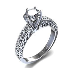 Carved Vintage Diamond Engagement Ring in Palladium - Australia Square Engagement Rings, Colored Engagement Rings, Filigree Engagement Ring, Antique Engagement Rings, Designer Engagement Rings, Square Diamond Rings, Vintage Diamond Rings, Wedding Rings Vintage, Wedding Jewelry