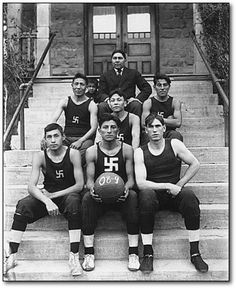 Not only did Hitler forever ruin a perfectly good mustache, he also ruined one of the classic good-luck symbols -- the swastika. Once upon a time, it was as common a symbol to see on a team uniform as the five-pointed star is now.    So, for instance, here's the 1909 Chilocco Indian Agricultural School basketball team: