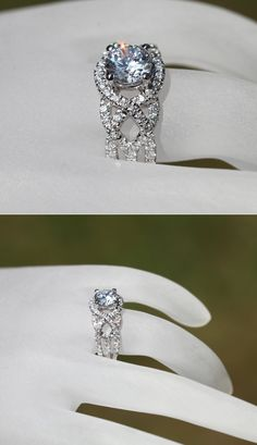 TWIST OF FATE White gold Diamond by BeautifulPetra -- oh my goodness. Do It Yourself Jewelry, Ring Verlobung, Pave Ring, Gold Engagement Rings, Halo Engagement, Dream Ring, White Gold Diamonds, Round Diamonds, Buy Diamonds