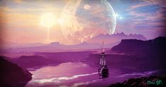 #pirateship #planets #universe #purple #sun #space #alien #mountains #fairytales #fairytale #fantasy #surrealistic #trippy #surrealism #collage #photoshop Trippy, Alien Worlds, Photoshop, Collage Artists, Fantasy, Surreal Art, Digital Collage, Art Day, Surrealism