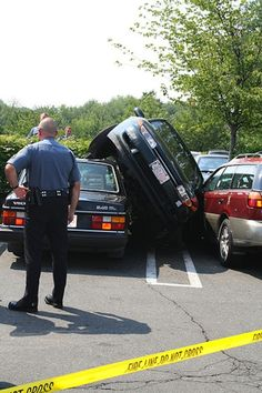 """parking fail...looks like that space was smaller than he thought! Note that I said """"he"""" !"""