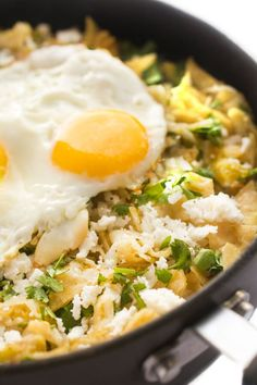 Delicious at any time of day, chilaquiles is traditionally enjoyed at breakfast or brunch. Serve with refried beans or top it with a sunny side up egg. #breakfast #brunch #eggs #mexicanrecipes #healthy