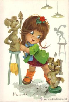 Dibujos divertidos de gatos buscar con google postales - Ilustraciones infantiles antiguas ...