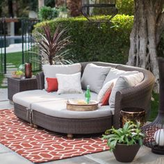 Belham Living Polanco Curved Back All Weather Wicker Sofa Daybed Sectional | Hayneedle