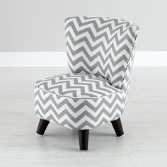 The Land of Nod | Kids Chairs: Grey Chevron Mini Chair in Play Chairs