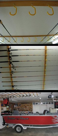 Ceiling mounted fishing rod holder.