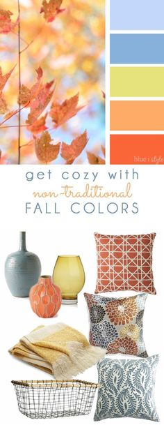 COZY FALL COLORS! A simple mood board to help you bring these non-traditional pastel colors into your fall home decor.