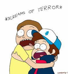 MORTY&&DIPPER!!!! Rick and Morty&Gravity Falls cross over! Haha. Love it