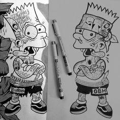 Tattooed Punk Rock Bart Simpson - Pen on paper (2014)