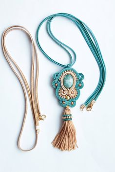 Shop for soutache on Etsy, the place to express your creativity through the buying and selling of handmade and vintage goods. Soutache Pendant, Soutache Necklace, Diy Necklace, Blue Necklace, Earrings, Accessoires Hippie, Moda Mania, Soutache Tutorial, Beaded Jewelry