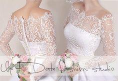 Off-Shoulder  milky white wedding bolero/ French Chantilly Lace /bridal shrug /jacket long sleeve