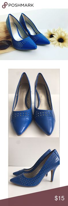 "Christian Siriano Cobalt Blue Laser Cut Heel Sz 8 Christian Siriano Cobalt Blue Perforated Laser Cut 4"" Heel Sz 8  Color: Blue Condition: New, unworn. Material:Patent Leather Style: Casual, Dressy Christian Siriano Shoes Heels"