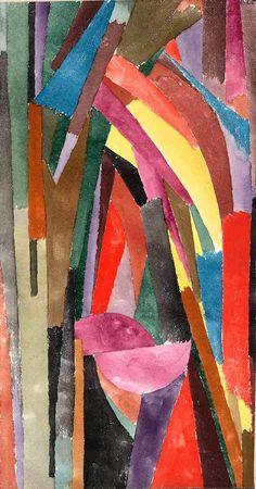 Paul Klee. Gothique joyeux. 1915. Aquarelle et pastel sur papier, bordures en papier métallique sur carton. 28,9 x 16,5 cm