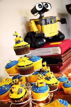 Disney Pixar Wall-E Themed Birthday Party  WallE Cupcakes  Copyright Amber S. Wallace Photography