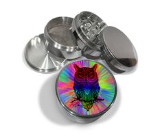 "Trippy Rainbow Owl Tattoo 4 Piece Silver Aluminum Grinder or Zinc Metal 2.5"" Diamond Cut Grinders Tie-dye Herb Herbal Hippie Hoot by Swagstr on Etsy"