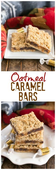 Oatmeal Caramel Bars | Gooey Caramel and Chocolate Sandwiched between two oatmeal layers! @lizzydo #NationalCaramelDay