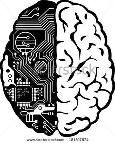Black and White Human Brain with Computer Circuit Board Illustration by Megan Johnston, via Shutterstock Circuit Board Tattoo, Circuit Board Design, Rpg Cyberpunk, Cyberpunk Tattoo, Computer Tattoo, Electronic Tattoo, Brain Art, Arte Robot, Tech Art