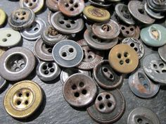 VINTAGE Antique Work Clothes Buttons One Hundred 100 by punksrus