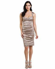 Nicole Miller Sand Metallic Ruched Dress Do you like?