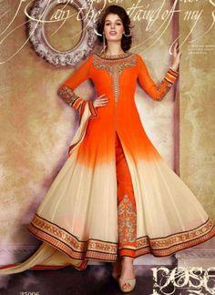 Sparkling Orange With Cream Shaded Georgette Salwar Suit
