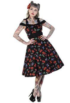 Robe Rockabilly Pin-Up Rétro Cerises Hirondelles - Robe - Vetements Femme - Tous nos Produits