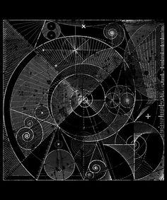 The Fibonacci sequence, foundation of the golden ratio. Distressed intricate design to illustrate the beauty of mathematics. Golden Ratio In Design, Sacred Geometry Tattoo, Fractal Geometry, Spiral Art, Occult Symbols, Math Art, Geometric Art, Geometric Tattoos, Flower Mandala