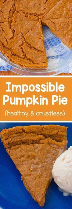 Homemade & crustless pumpkin pie with a soft, custard-like texture - only 70 calories per slice! http://chocolatecoveredkatie.com/2016/11/14/impossible-pumpkin-pie-vegan/