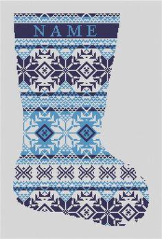 Fair Isle #NeedlepointStocking Canvas Blue and White