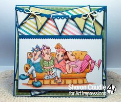 Art Impressions Rubber Stamps: Ai Girlfriends: Comfy on Couch Set (sku 4050) ... handmade friendship GNO girls night out card. slumber party